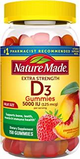 Nature Made Extra Strength Vitamin D3 5000 IU (125 mcg) Gummies, 150 Count for Bone Health