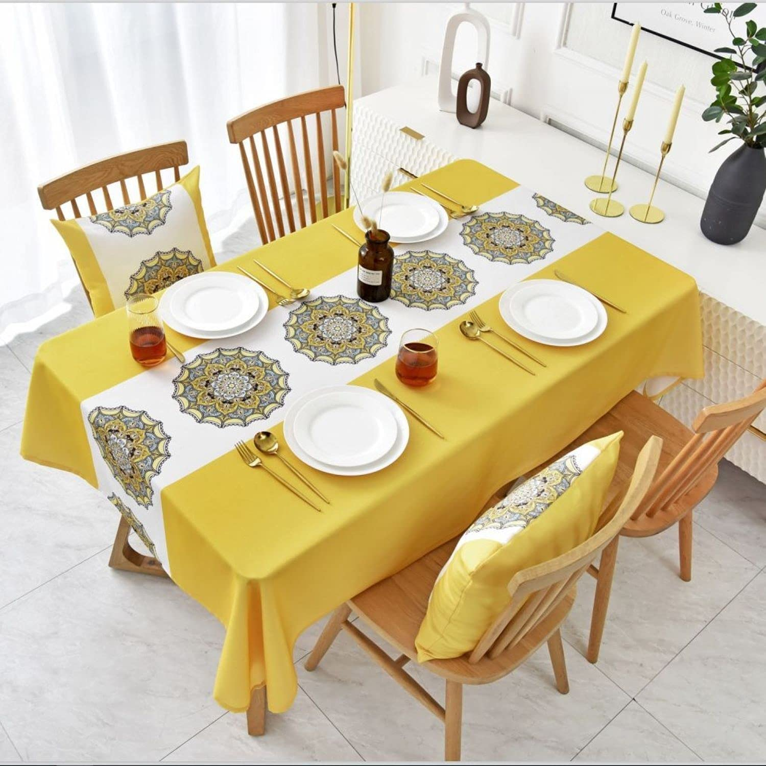 DMAMZ Tablecloth Waterproof Oilproof Rectangular Table Thick 買い物 信託 Cov