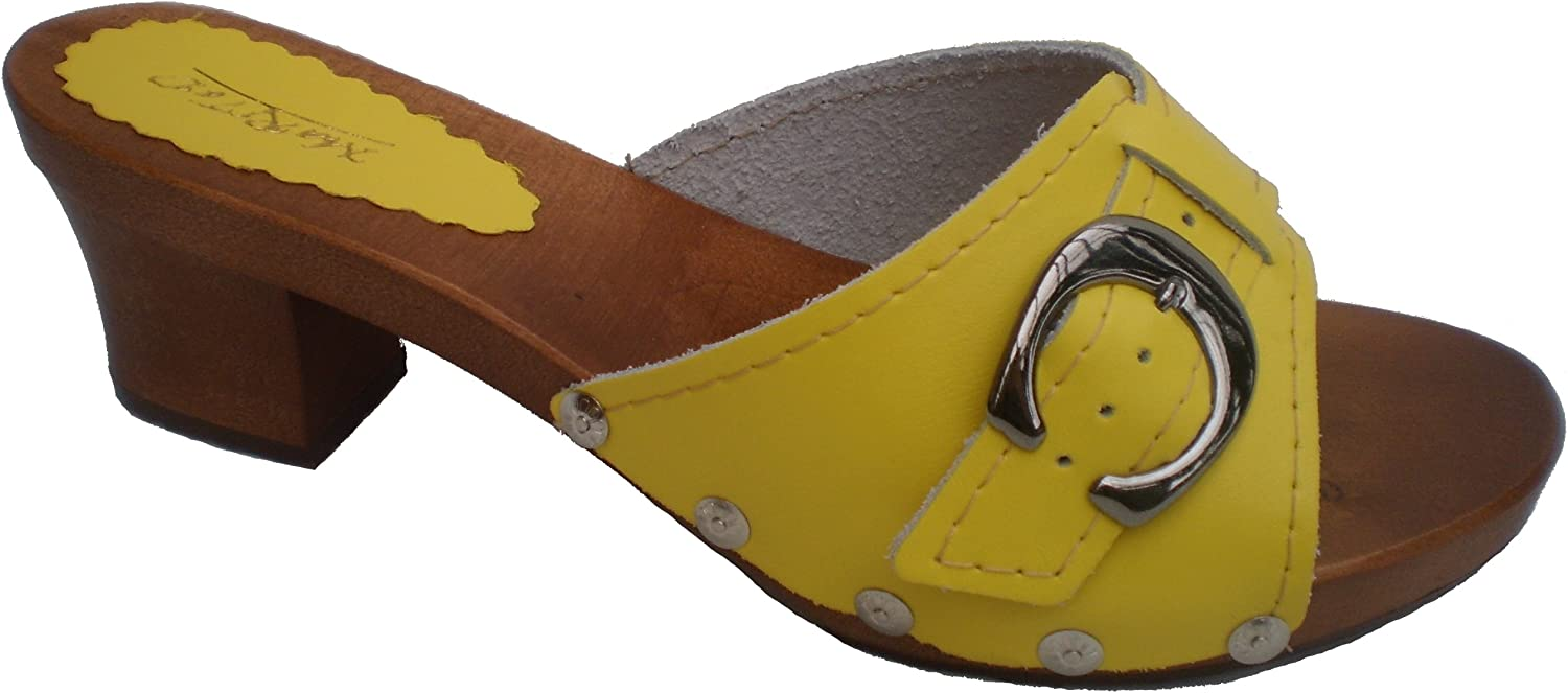 Marited Yellow Ladies Clogs Sandals Natural Leather and Wooden Sole and Heel