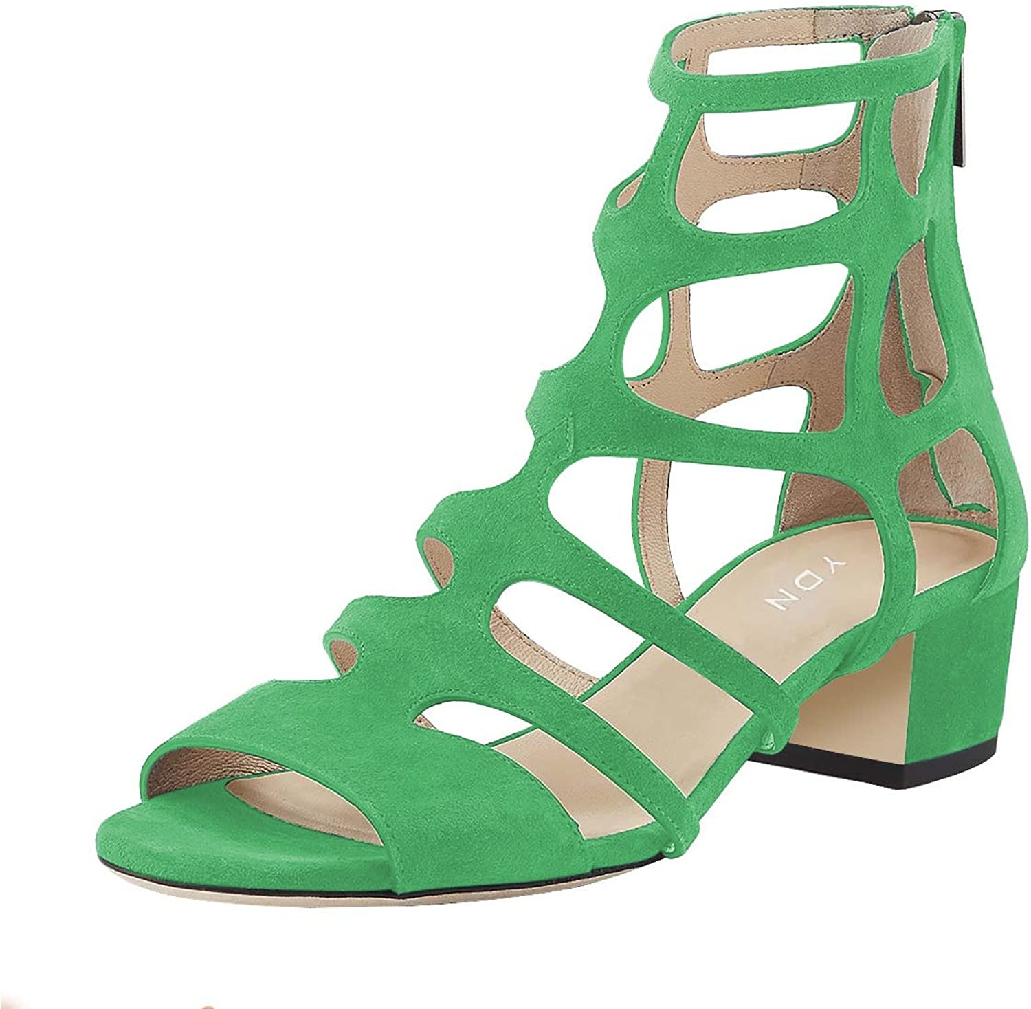 YDN Women Sexy Peep Toe Strappy Cutout Sandals Ankle High Block Low Heel Dress shoes with Zips