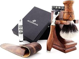 Jag Shaving Shaving Kit - Duurzame 3-delige scheerset - van hout - 3 randscheren scheermes - synthetische Silvertip scheer...