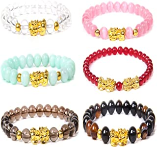 6Pcs Handmade Feng Shui Pi Xiu Beaded Elastic Bracelets Attract Wealth Good Luck Chinese Dragon Pi Yao Bracelet for Women ...