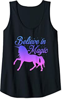 Womens Unicorn Lover BELIEVE IN MAGIC Women Girls Kid Mom Cute Gift Tank Top