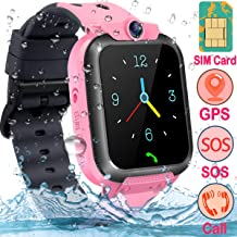 【Kids Exclusive Model】 Waterproof Kids GPS Locator Smart Watch【Free SIM Card】 2G Smart Watch Phone with Two Way Chat, One Button SOS, Camera, Game, Smartwatches Bracelet for Girls Boys Ages 3-14