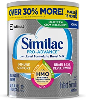 Similac Pro-Advance Non-GMO with 2-FL HMO Infant Formula with Iron for Immune Support, Baby Formula 30.8 oz Can