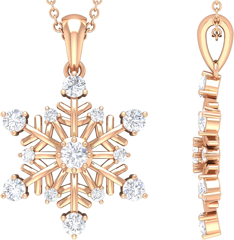 1 2 CT Diamond Minimalist Snowflake 14K S Reservation Quality AAA Pendant Max 70% OFF