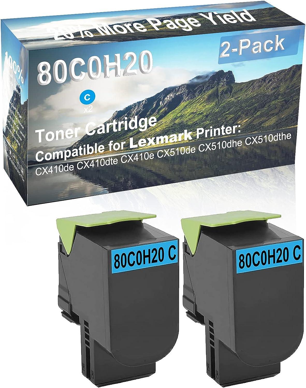 2-Pack (Cyan) Compatible CX410e, CX510de Printer Toner Cartridge High Capacity Replacement for Lexmark 80C0H20 Toner Cartridge