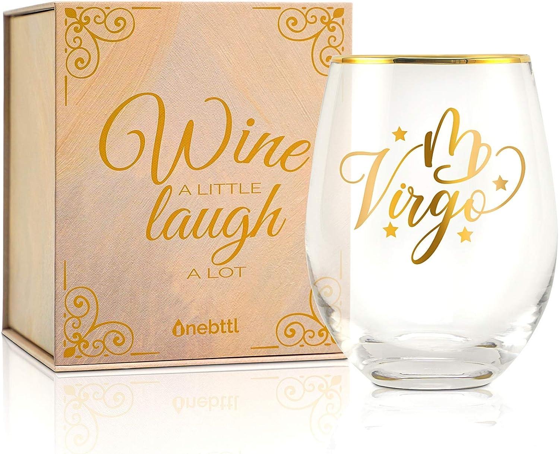 Onebttl Zodiac Virgo Astrology Sign Unique Wine Max 49% Denver Mall OFF Glasses Stemles