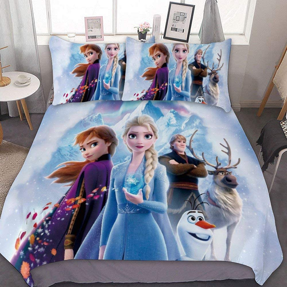 Frozen Kids Duvet Cover Set Animated Cartoon Christmas Eve Anna Elsa Frozen 2 Kristoff Olaf Sven Decorative 3 Piece Bedding Set With 2 Pillow Shams Kids Bedding Set For Boys Au Queen Size Home