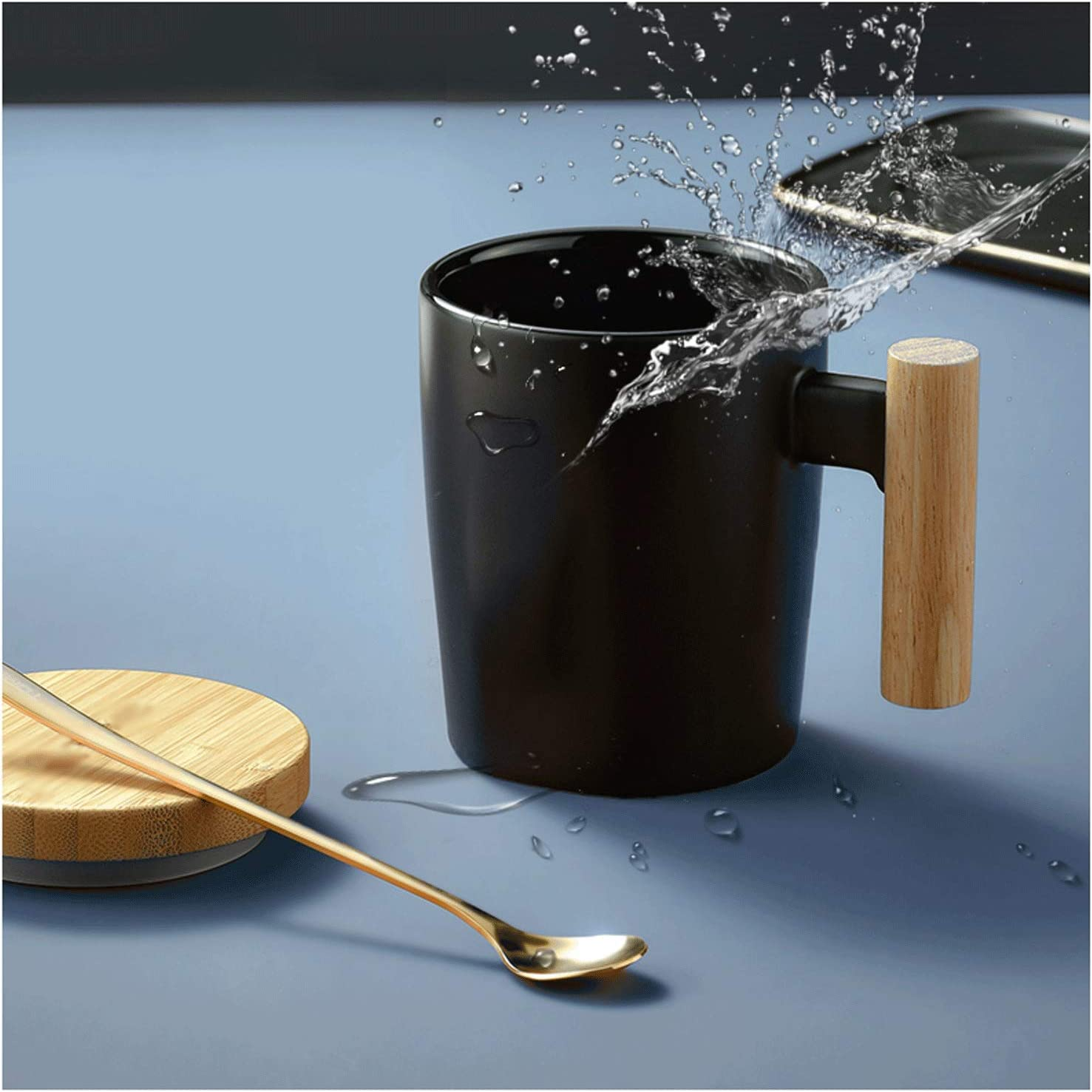 Large Oatmeal Special price for a limited time Mug Creative Couple Cups Cu with Lid Spoon Max 86% OFF Ceramic
