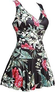 ثوب سباحة نسائي من MiYang مقاس كبير مطبوع عليه شكل زهرة قطعة واحدة