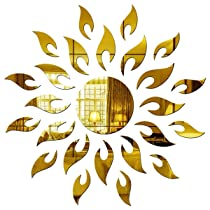 Wall1ders – 1.5 Feet Sun Golden 3D Mirror Stickers For Wall, Living Room, Hall, Bed Room & Home (Gold, Large Size), Plastic
