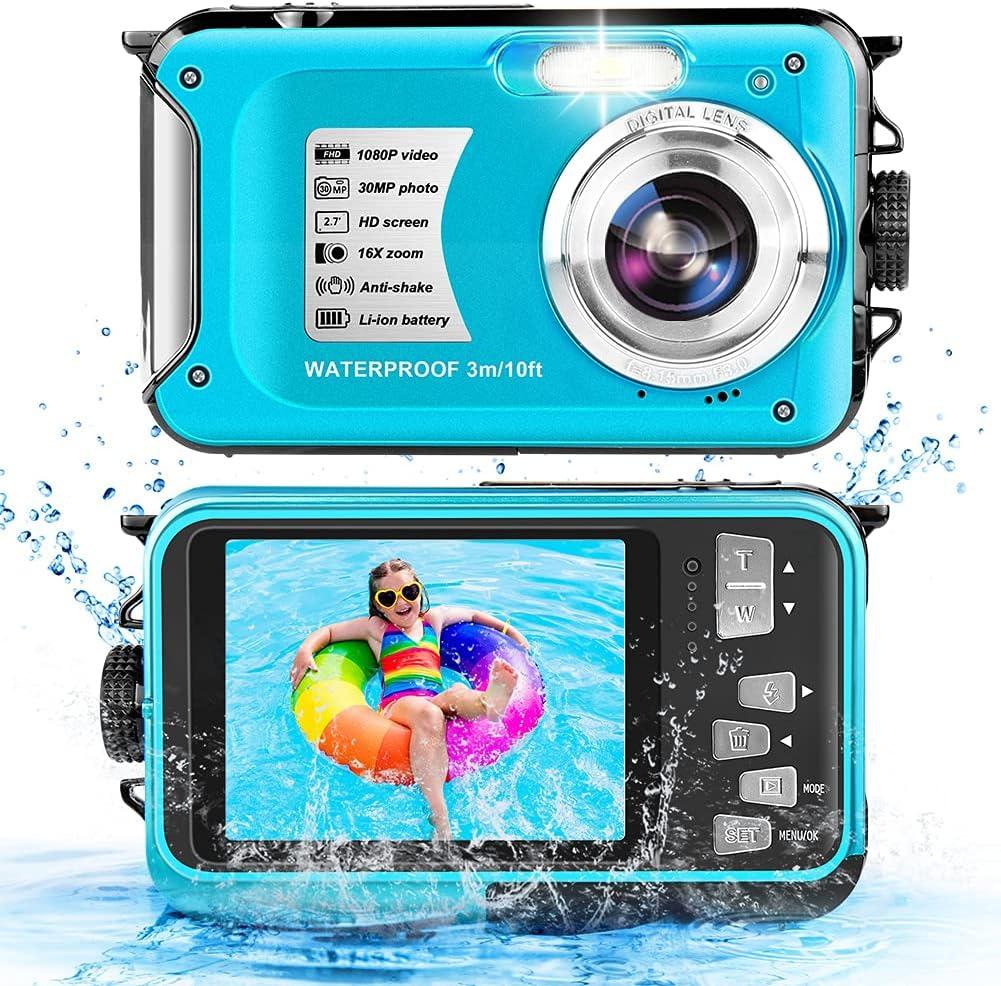 Waterproof Camera 1080P Full HD 30MP Video Resolution Underwater Camera 10FT Anti-Shake 16X Zoom Digital Waterproof Camera for Snorkeling,Travel (Blue) : Electronics