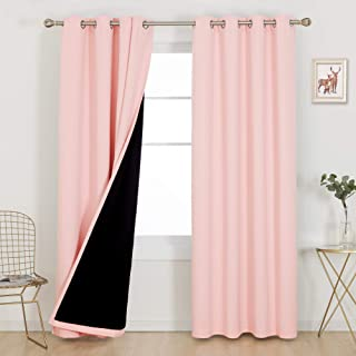 Deconovo Total Blackout Doubled Curtains 84 Inches Long Set of 2 100% Full Light Block Heat Cold Noise Reducing Grommet Dr...