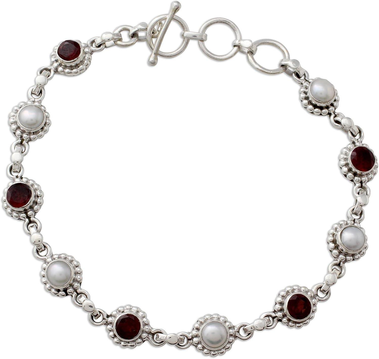NOVICA Garnet Light Gray Over Max 85% OFF item handling ☆ Cultured Silv Sterling Freshwater Pearl