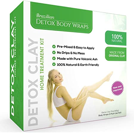Brazilian Detox Clay Body Wraps (10-Applications) Slimming Home Spa Treatment for Cellulite, Weight Loss, Stretch Marks | Natural, Purifying Detoxifier for Smooth, Toned Skin (10 Applications)