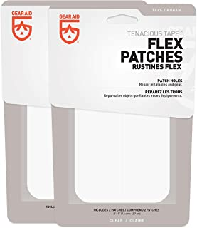 GEAR AID Tenacious Tape Flex Patches for Vinyl and Fabric Repair, Clear, Two 3