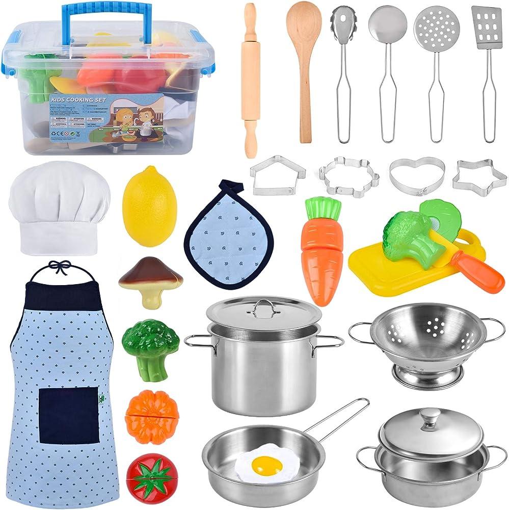 Twobefit giocattoli da cucina per bambini, 30 pezzi