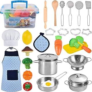 TwobeFit Juguetes de Cocina para niños, 29 Piezas Juguetes de Chef para Niños, Cocina de Acero , Vegetales para Cortar, De...