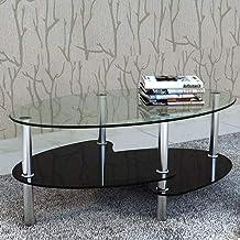 Oval Glass Coffee Table Modern Furniture Decor 2-Tier Modern Oval Smooth Glass Tea Table End Table for for Living Room, Ki...