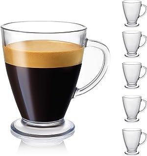 JoyJolt Declan Coffee Mug. Glass Coffee Mugs Set of 6. Clear Glass Coffee Cups 16 Oz with..