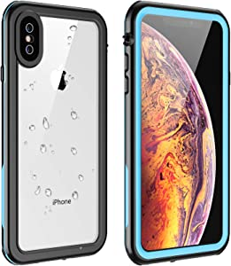 Eonfine for iPhone X Case/iPhone Xs Case Waterproof, Built-in Screen Protector Full-Body Clear Call Quality Heavy Duty Shockproof Cover Case for iPhone X/iPhone Xs (Blue/Clear)