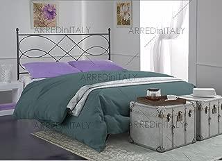 Letto Matrimoniale in Ferro Colore Nero Grafite con PEDIERA PREDISPOSTO per Rete con Piedini 160 X 190 CM Non Inclusa Prodotto Made in Italy ARR014