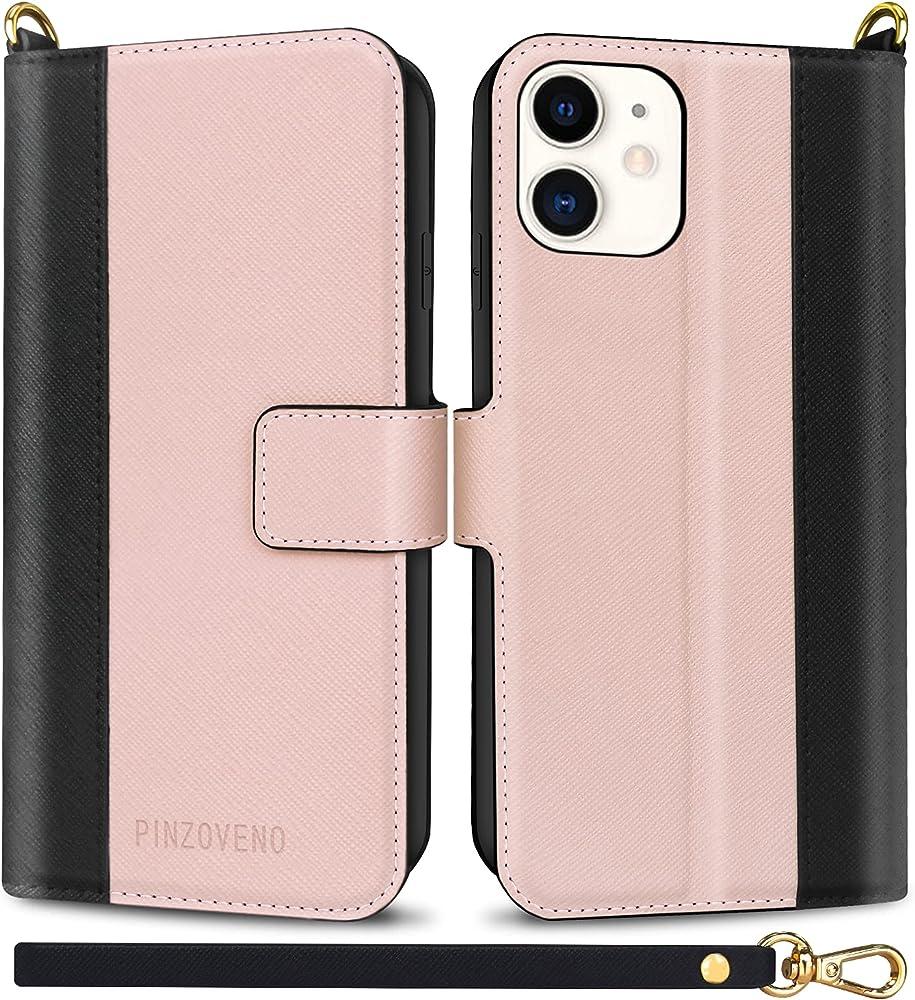 Pinzoveno custodia per iphone 11 portafoglio in pelle sintetica rosa