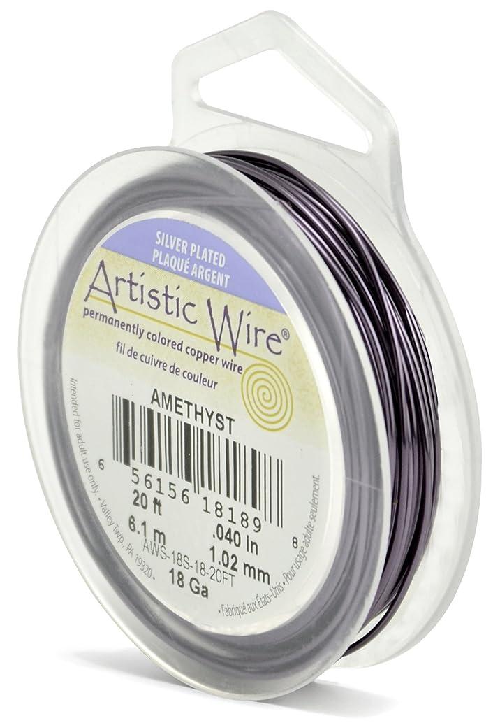 Beadalon Artistic Wire 18-Gauge Silver Plated Amethyst Wire, 20-Feet