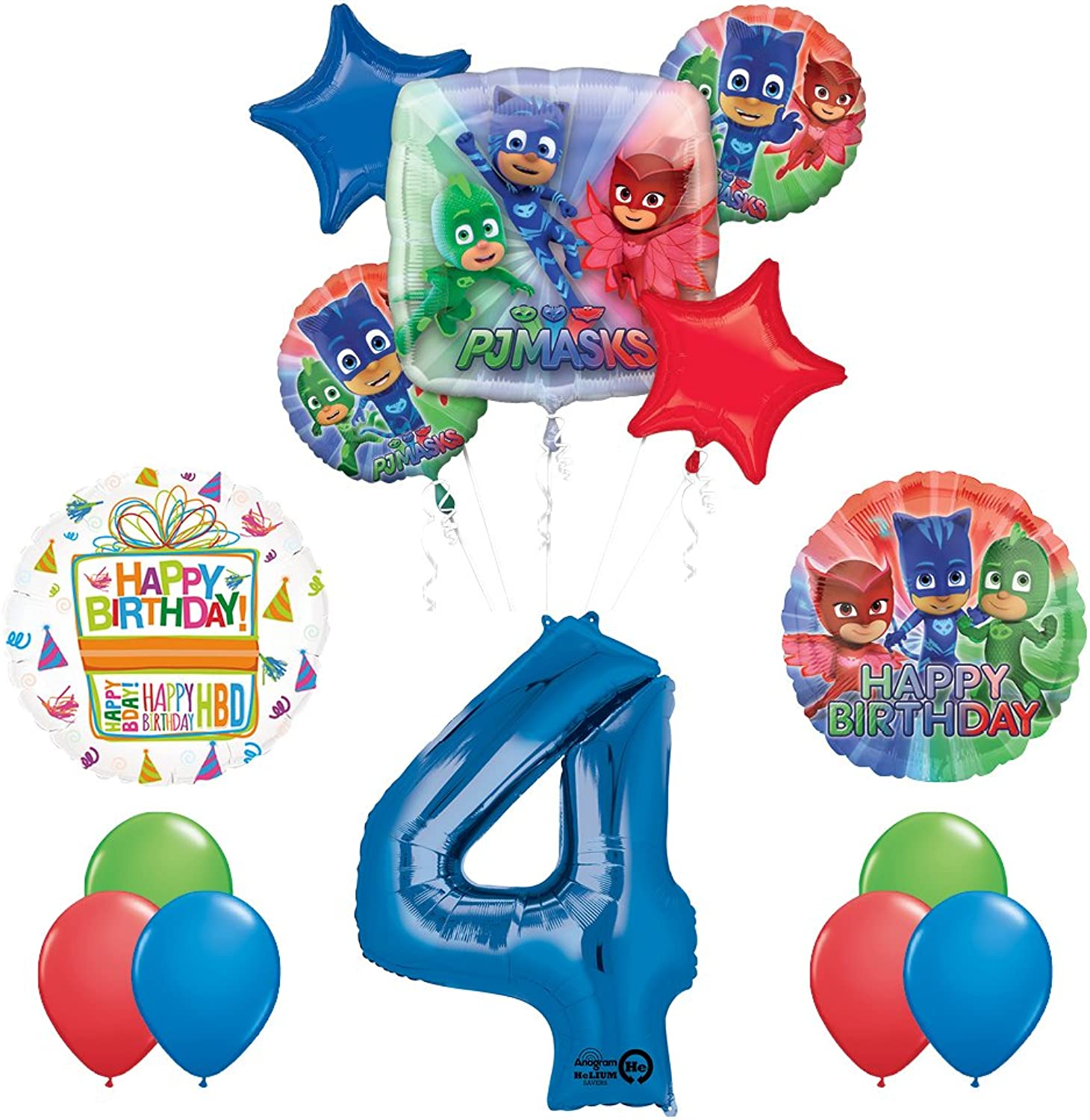 The Ultimate PJ MASKS 4th Birthday Party Supplies and Balloon decorations
