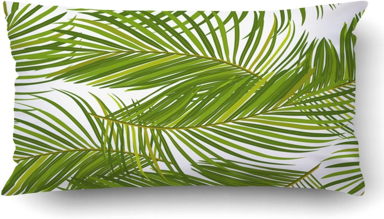 Emvency King 20x20 Inches Decorative Pillowcases Leaves of Palm Tree Cotton  Polyester Decor Throw Pillow Cover with Hidden Zipper for Bedroom Sofa