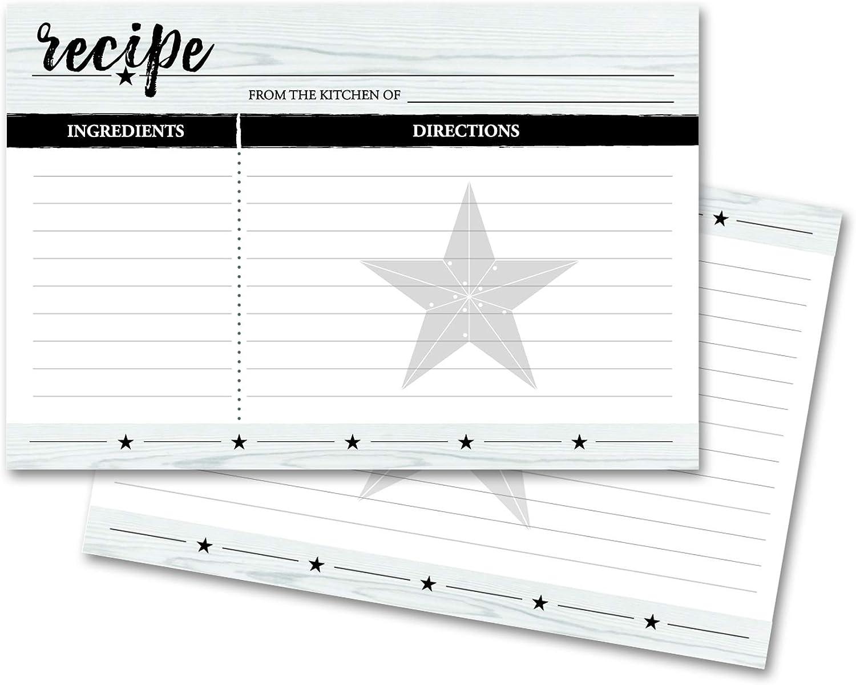 Home Advantage Star Farmhouse Recipe Cards - 4x6 Double Sided (White)