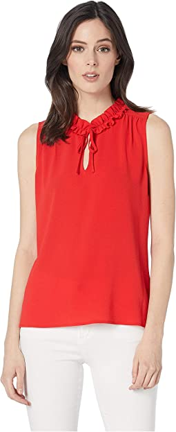 Short Sleeve V-Neck Blouse w/ Ruffled Collar