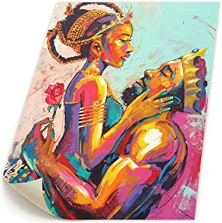 Jemeira Atwood African American King Queen Crown Lover Couples Wall Art Painting Canvas Prints for Home Decorations Wall Decor None Frame Ready to Hang 18.9x22.8inch