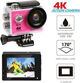 """KOCASO 4K WIFI Sports Action Camera Ultra HD Waterproof DV Camera, 2"""" LCD Display, Supports Slow Motion/Time Lapse/Loop/Driving Record. Built-In Wi-Fi/HDMI, FREE Waterproof Underwater Case- Pink"""