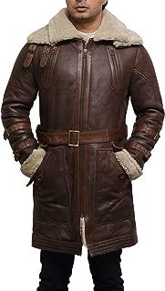 Brandslock Mens Genuine Sheepskin Leather Warm Duffle Trench Coat Brown