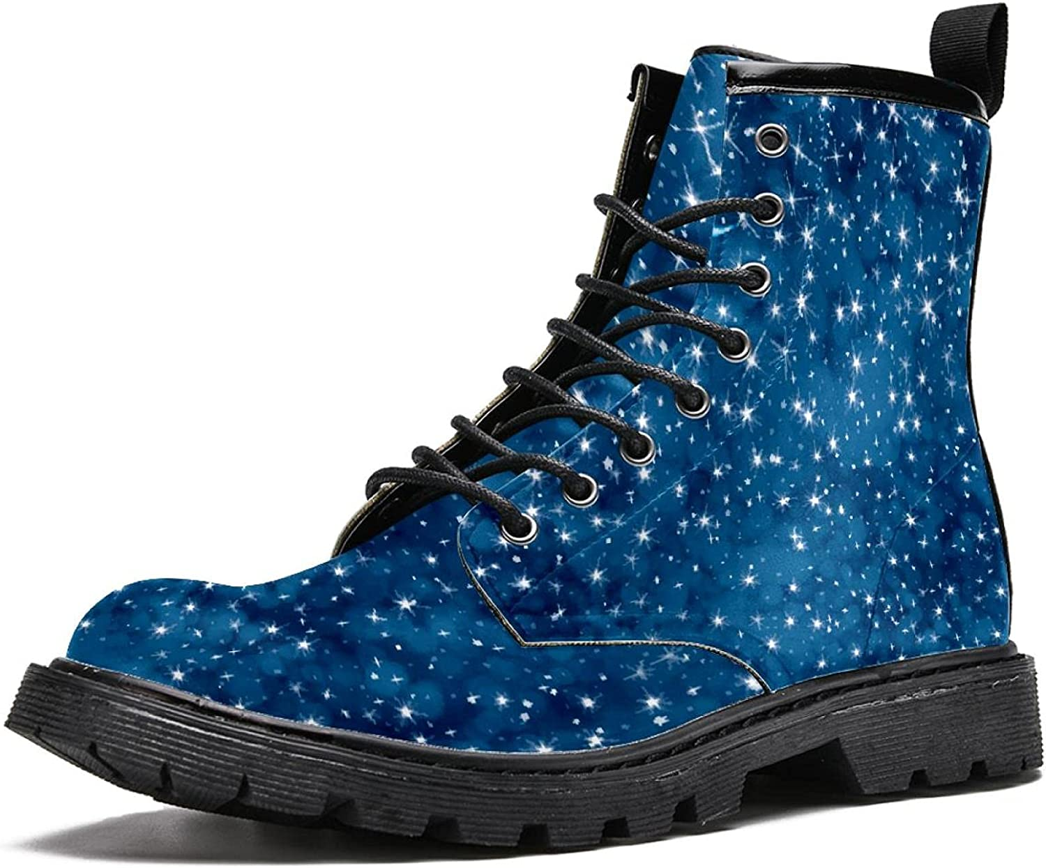 Waterproof Outdoor Lace-Up Leather 2021 autumn and winter new Combat Starry Boots Portland Mall Sky Blue