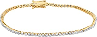 1/2 Carat Natural Diamond Bracelet 10K Yellow Gold (L-M Color, I1-I2 Clarity) Diamond Tennis Bracelet for Women Diamond Jewelry Gifts for Women