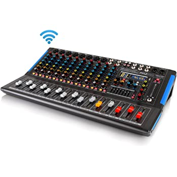 12-Channel Bluetooth Studio Audio Mixer - DJ Sound Controller Interface w/ USB Drive for PC Recording Input, RCA, XLR Microphone Jack, 48V Power, For Professional and Beginners-Pyle PMXU128BT,Black