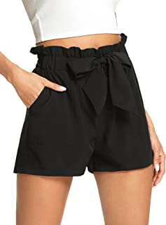 Women's Casual Elastic Waist Bowknot Summer Shorts with...