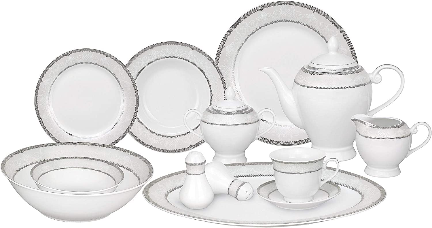 Max 65% OFF MISC 57-Piece Don't miss the campaign Porcelain Dinnerware Set Silver Accent Banded with