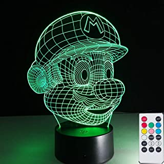 Super Mario 3D Visual Lamps Nightlight with Remote Control, 7 Colors USB Touch Switch Table Desk Lamps Holiday Xmas Lighting Gifts