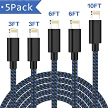 iPhone Charger,ONXIGLI MFi Certified Lightning Cable 5 Pack[3/3/6/6/10FT]Extra Long Nylon Braided USB Charging & Syncing Cord Compatible iPhone Xs/Max/XR/X/8/8Plus/7/7Plus/6S/6S Plus/SE/iPad/Nan More
