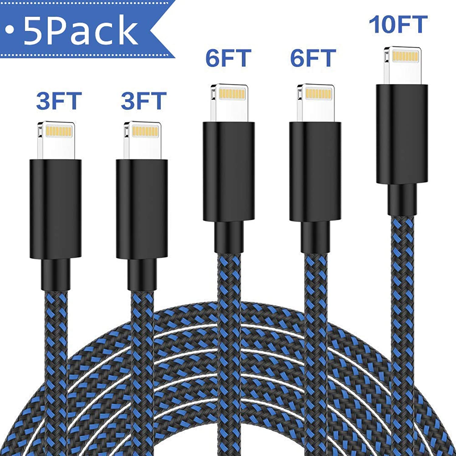 iPhone Charger,TNSO MFi Certified Lightning Cable 5 Pack [3/3/6/6/10FT] Extra Long Nylon Braided USB Charging & Syncing Cord Compatible iPhone Xs/Max/XR/X/8/8Plus/7/7Plus/6S/6S Plus/SE/iPad/Nan More