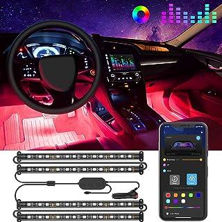 Govee Tiras LED Coche, 4pcs 22CM Luces LED APP Control Dos Líneas de Diseño a Prueba de Agua, Multi DIY Color Música Bajo ...