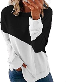 Frieed Women's Round Neck Color Block Patchwork Long Sleeve Loose Pullover Pullover