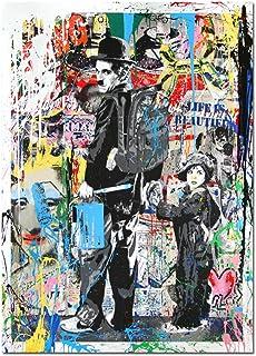 wojinbao Pas de Cadre Charlie Chaplin Affiche Street Art Graffiti et Albert Einstein Impressions sur Toile Peinture Art Photos Banksy Graffiti Wall Art 30x40cm