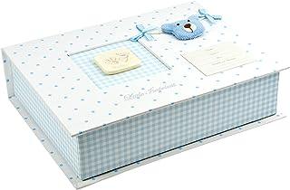 Caja de recuerdos para bebés hecha a mano en color azul con