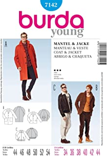 Burda Style Pattern 7142 Young Men's Coat & Jacket, Size 34-44