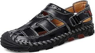 صندل MAIZUN رجالي رياضي في الهواء الطلق أحذية الصيد المائية كاجوال جلد مغلق الإصبع صندل الصيف